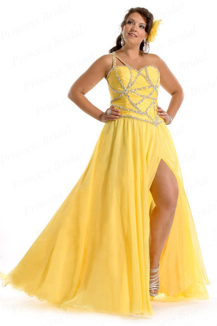 Yellow Plus Size Prom Dresses 41