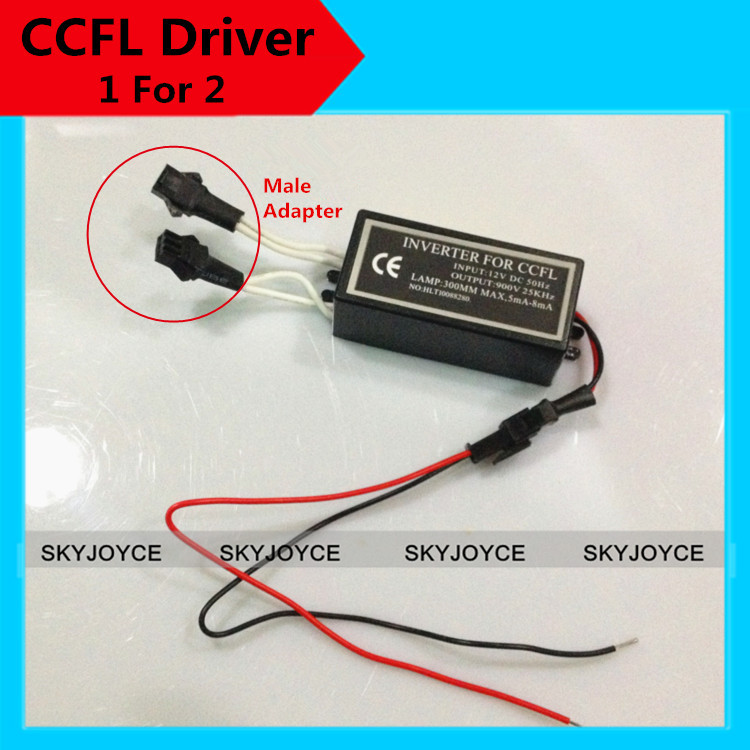 2X Male adapter socket  CCFL inverter replacement 1 for 2 inverter for ccfl angel eyes driver Halo Ring CCFL Spare inverter