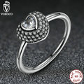 925 Sterling Silver Finger Ring Women 3 Size Pave Setting Heart Crystals Ancient Silver Rings Compatible With VRC A7168