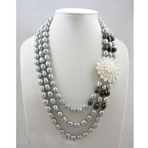 New Arriver Real Pearl Jewellery,3 Rows 9-11mm Gray Green Color Rice Baroque Freshwater Pearl Necklace,Shell Clasp,Free Shipping