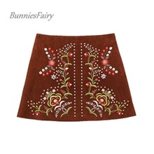 BunniesFairy 2017 Autumn Winter New European and American Style Women Embroidery Suede A-Line Mini Skirt Saia Inverno Jupe Cuir