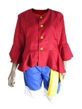 цена One Piece Cosplay Two Years Later Monkey D Luffy 2nd Generation Suit Men's Wear Party Halloween Csotume Coat Pants Waistband Hat онлайн в 2017 году