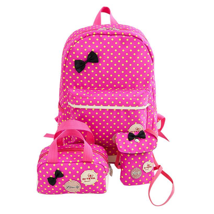 1 Set Women Girls Dots Bowknot Nylon Backpack Schoolbag Travel Bag+shoulder Bag Satchel Rucksack Dropshipping Jl26