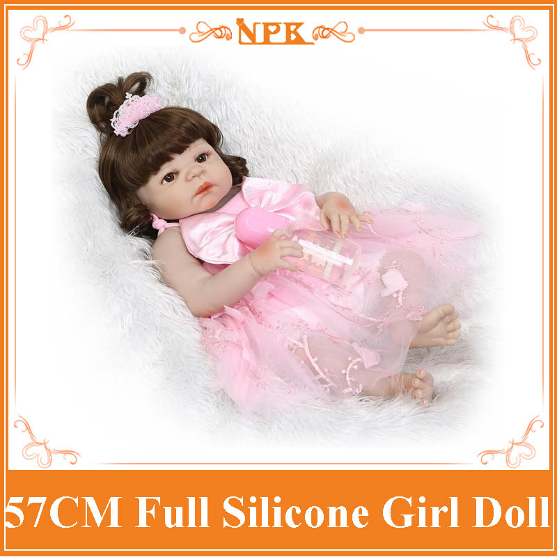 NPK 57CM Bebe Reborn Girl Doll Boneca Full Silicone Body Lifelike Baby Princess Toys With Cute Curls Hair Best Christmas Gift