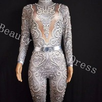 2019 New Silver Crystals Jumpsuit long Sleeves Birthday Celebrate outfit Stretch Sexy Bodysuit Stage Performance Dance Rompers
