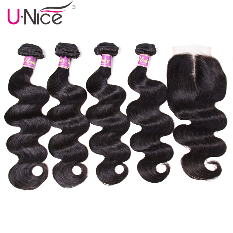 UNice Hair Icenu Remy Hair Series 4 Bundles with Closure Peruvian Body Wave with Closure Human