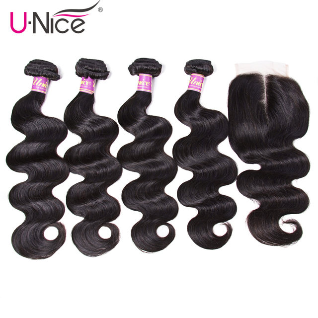 $ US $105.30 UNice Hair Icenu Remy Hair Series 4 Bundles with Closure Peruvian Body Wave with Closure Human Hair Lace Closure with Bundles