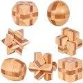 7 pçs/lote 3D Ecológico de bambu brinquedos adultos burr QI cérebro teaser enigma educacional de madeira crianças jogos de desbloqueio