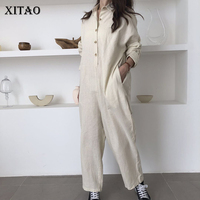 [XITAO] Autumn 2018 New Korea Casual Women Full Sleeve Single Breasted Jumpsuit Female Solid Color Full Length Jumpsuit GWY2809