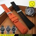 20mm 22mm extremo curvo de buceo de silicona de goma correas de reloj de acero inoxidable con hebilla para omega seamaster reloj pulsera de la correa herramientas