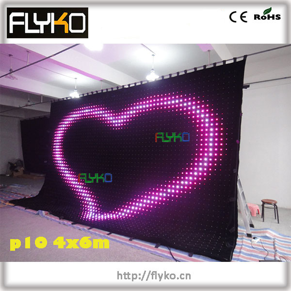 FLYKO P10 4*6m professional light led video curtain stage backdrop