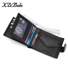 X.D.BOLO 2019 Male Leather Wallet Men's Wallets Card Holder Genuine Leather Purse for Men Wallet with Coin Pocket Money Bag(China)