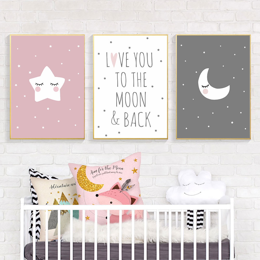 Cartoon Poster Pink Picture Canvas Painting Nordic Kids Room Posters Moon Art Children Wall Unframed