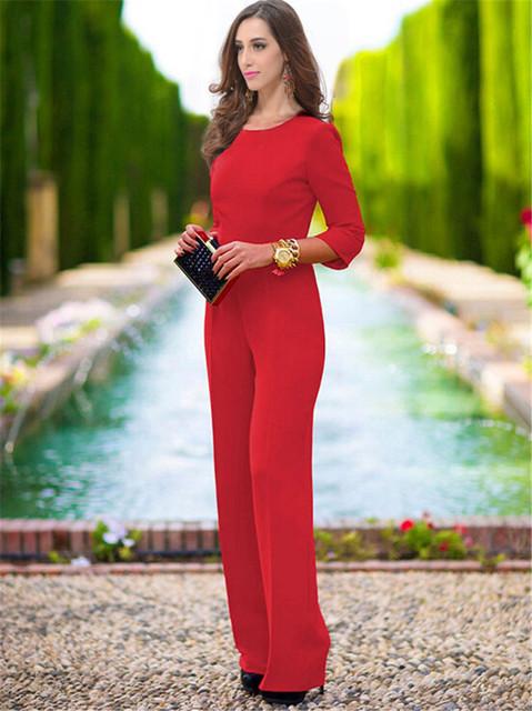 Sexy Negro Rojo Elegante de la Gasa Del Mono de Las Mujeres Más Tamaño Pantalones Largos Sin Respaldo Sólido Mamelucos Del Mono de Los Pantalones 4 Colores