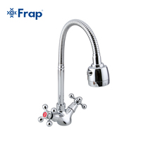Frap Silver Double Handle Kitchen Faucet Mixer Cold And Hot Kitchen Tap Single Hole Water Tap
