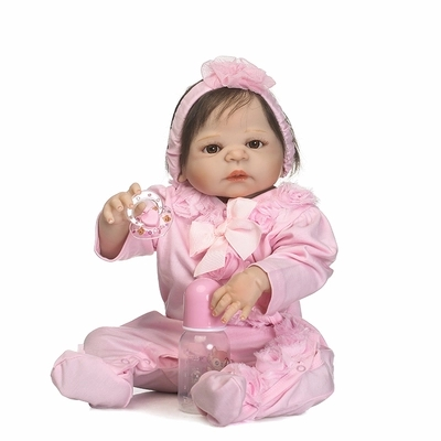 57cm Real Full Body Silicone Reborn Baby Doll Toys Bebe Girl Reborn Bonecas Lifelike Soft Kids Doll Gift Brinquedos bebe 55cm full body silicone reborn baby girl doll toys lifelike baby reborn doll kids child birthday gift bonecas reborn