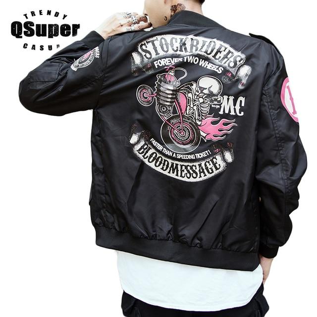 2ec2410cc615 QSuper Stockriders Motorcycle Luxury Brand Bomber Jackets Men Big Size  Baseball Skull Jacket Men Pilot MA-1 Jackets XS-5XL