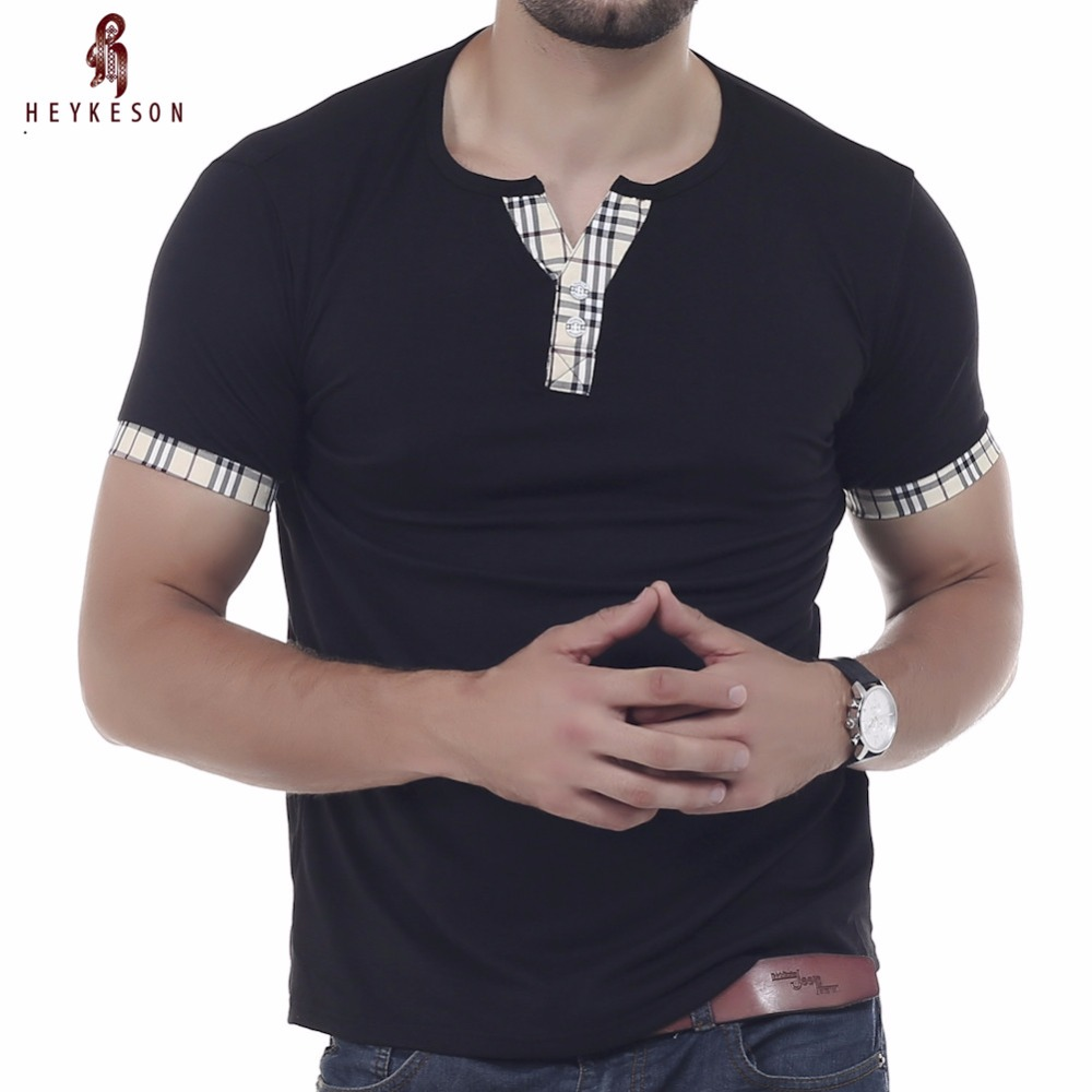 ᐊheykeson Mężczyzna Topy 2018 Krótkim Rękawem T Shirt V Neck Męska