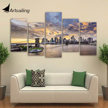 Framed Printed City bridge poster 5 pieces Group Painting room decor print picture canvas Free shipping/ny-1171
