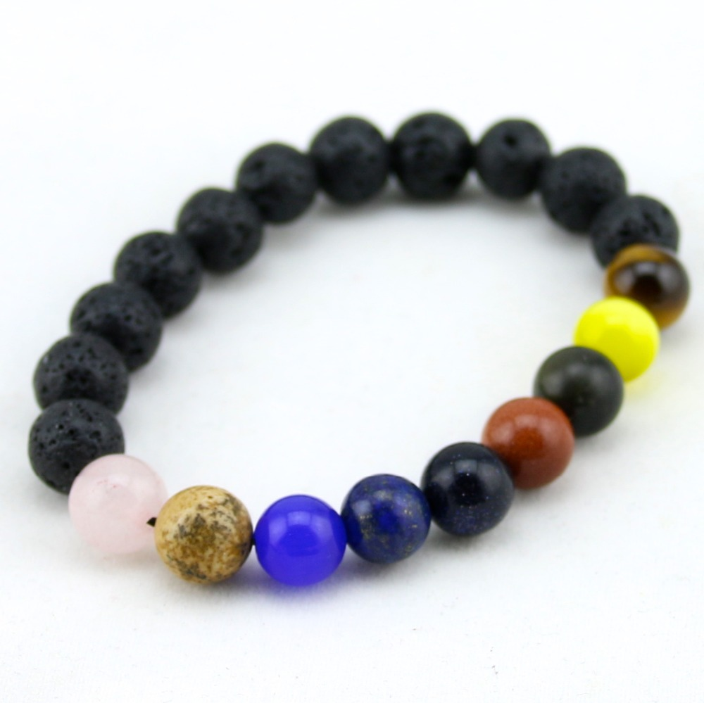 2015 Original Custom Men Bracelet Beads 10mm Lava Stone Beads Bracelets For  Women Unisex Lovers Gift
