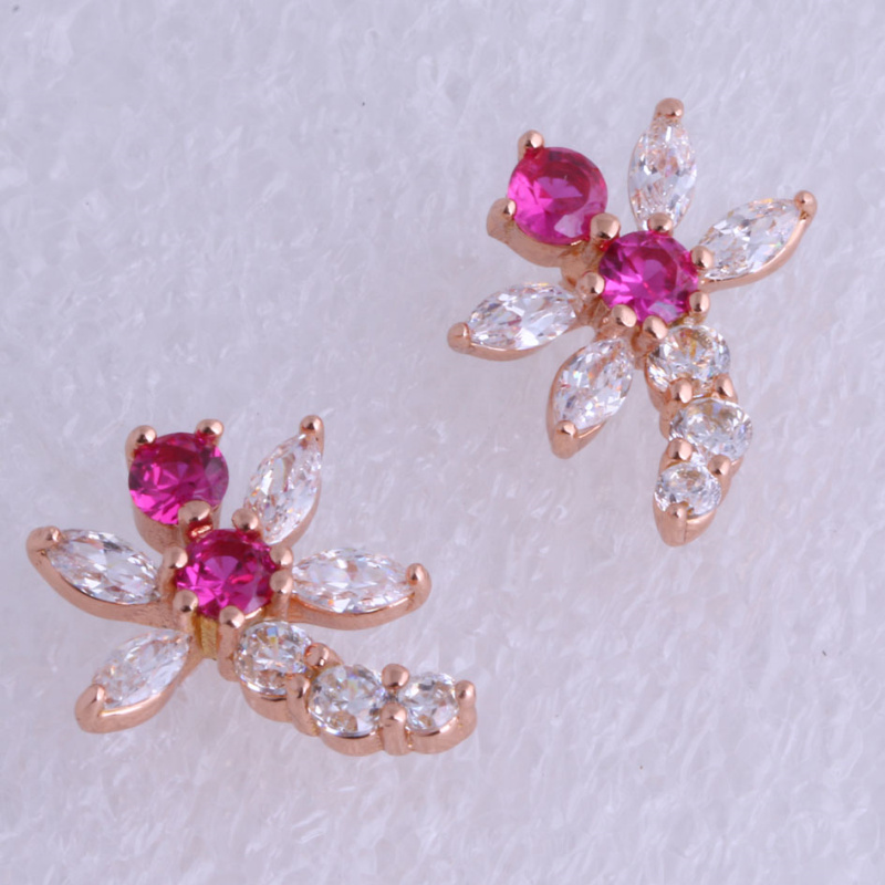 Lovely Dragonfly Red & White Cubic Zirconia Stud Earrings for Women Rose Gold Color Jewelry X0304