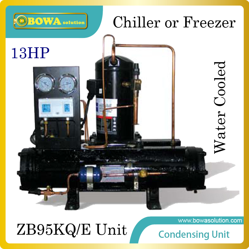 13HP water cooled condensing unit with emerson scroll compressor suitable for  seafood machine or  cold room  цены