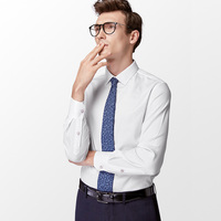 Mens Dress Shirt Male Solid Color Long Sleeve White Business Elastic Anti Wrinkle Formal Shirt