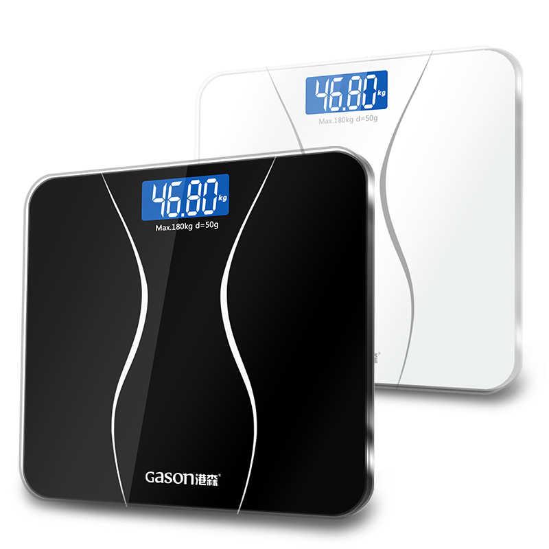 GASON A2 Timbangan kamar mandi Layar LCD Kaca tempered 180kg/50g
