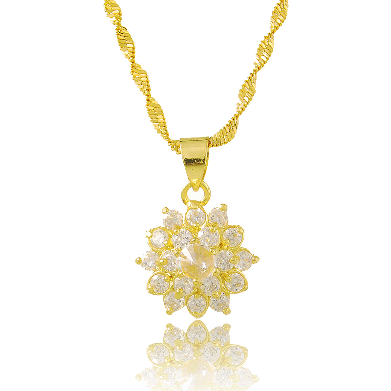 New Arrival Fashion Jewelry Party Necklace 24K Gold Color Women Gift <font><b>Crystal</b></font> Round Necklaces Pendants For Women P154 image