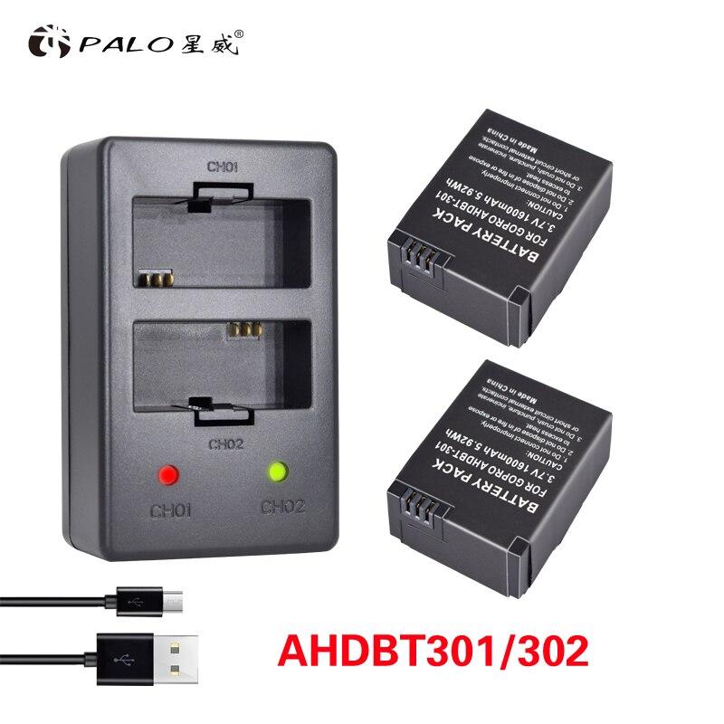 PALO 2Pcs Hero 3 Battery 3 7V AHDBT 301 Hero3 Battery USB Dual Charger For GoPro