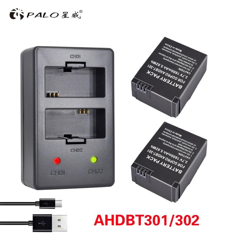 Acessórios da Câmera Hero3 para Gopro Carregador de Bateria 3 plus Bateria plus Dual 3 plus Ahdbt302 Palo 2 Pcs Herói Usb 3.7 v Ahdbt 301 go Pro Herói