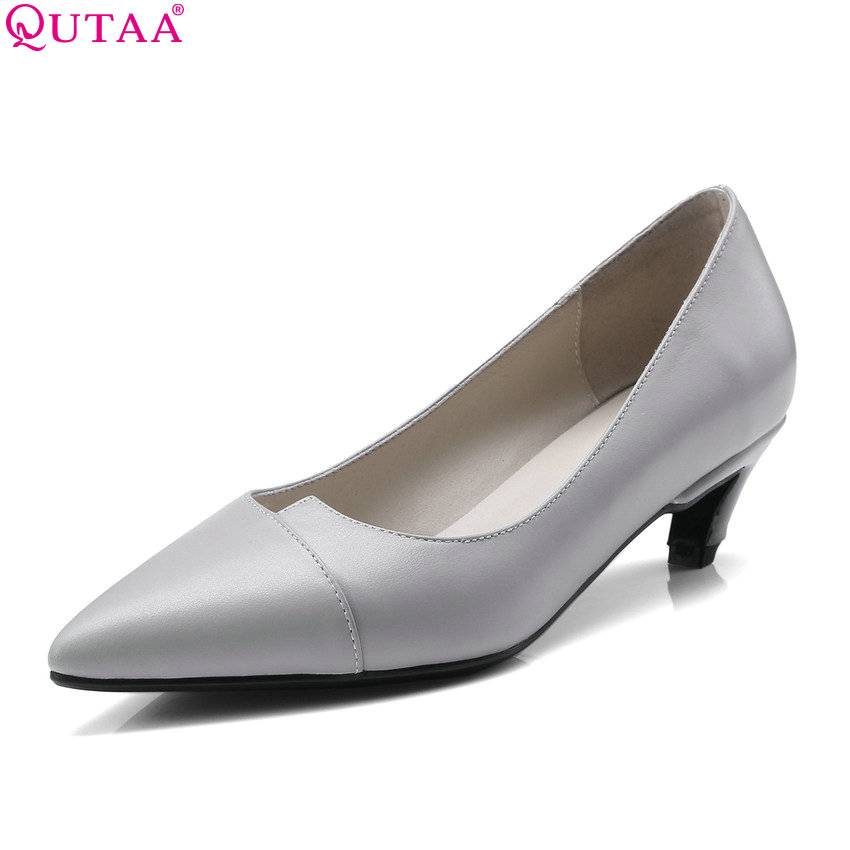 QUTAA 2018 Women Pumps Cow Leather +pu Thin Heel Pointed Toe Women Shoes Platform Casual Low Heel Ladies Pumps Size 34-41
