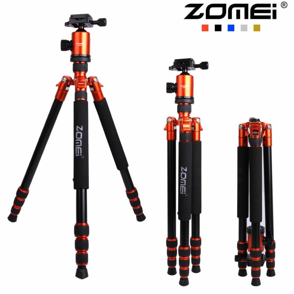Zomei Z888 Professional Portable Tripod Ball Head Quick-Release Plate Monopod Carrying Bag for DSLR SLR Camera 5 Colors zomei z888 portable professional aluminium alloy travel tripod monopod z818 for slr dslr digital camera five colors available