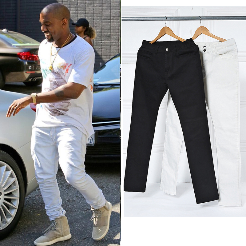 2017 black white pants elastic high quality street fashion slim fitness high street male casual pants