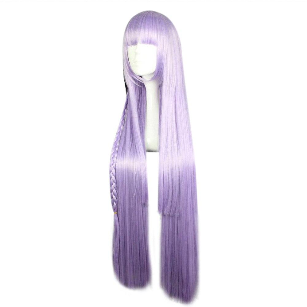 HAIRJOY Synthetic Dangan Ronpa Kyouko Kirigiri Purple Cosplay Wig with Kniting Braid Ponytail 100cm Long Straight Hair 2