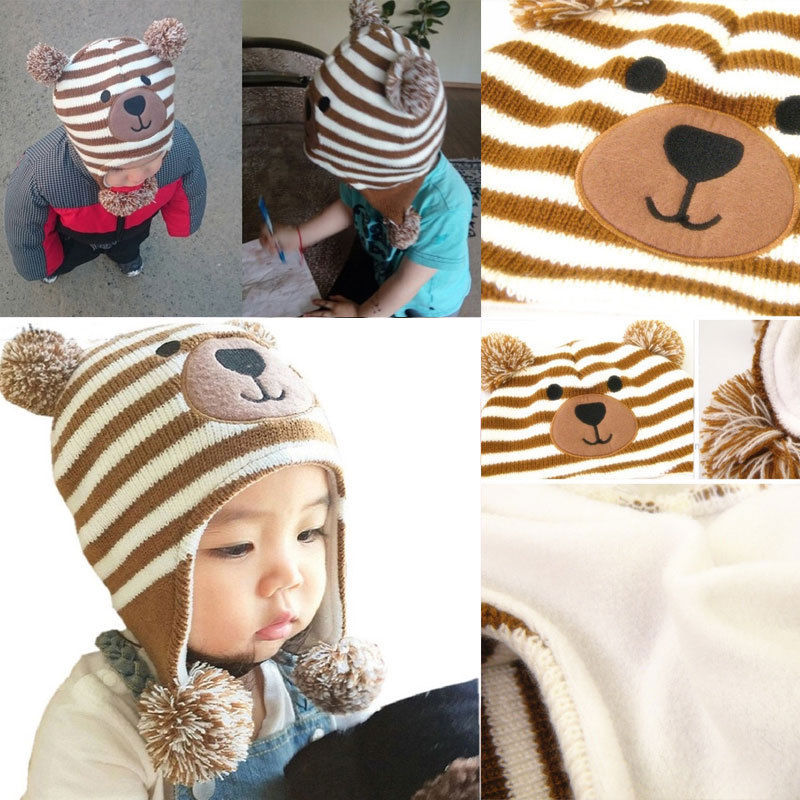 2018 Cute kids knitted bear Beanies Baby Toddler Winter Beanie lovely children Warm Hat Earflap Knitted striped Cap Kids 0-5Y
