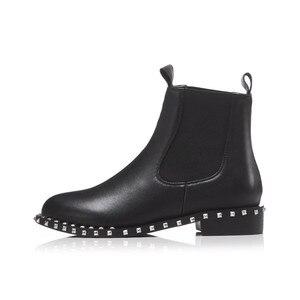 Image 3 - MORAZORA 2020 di alta qualità genuino stivali di cuoio della caviglia per le donne punta rotonda slip on stivali autunno inverno scarpe da donna nero