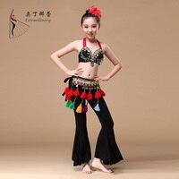 ATS Wydajność 3 sztuk Zestaw Kostiumów Dziewczyny Tribal Taniec dziecko Monety Biustonosz, pas i Spodnie Gypsy Kostium Dzieci Taniec Brzucha