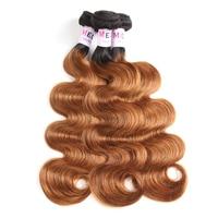 Megalook Pre Colored Ombre T1b30 Brazilian Body Wave Human Hair 3 Bundles Honey Blonde Remy Hair Weave Bundle Hair Extensions