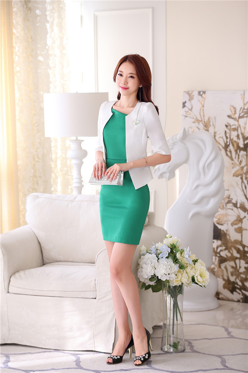 4b1a5019d5bd Formal OL Styles Spring Summer Professional White Business Women Uniforms  Design Blazer Suits With Jackets And Dress Outfits Set-in Dress Suits from  Women's ...