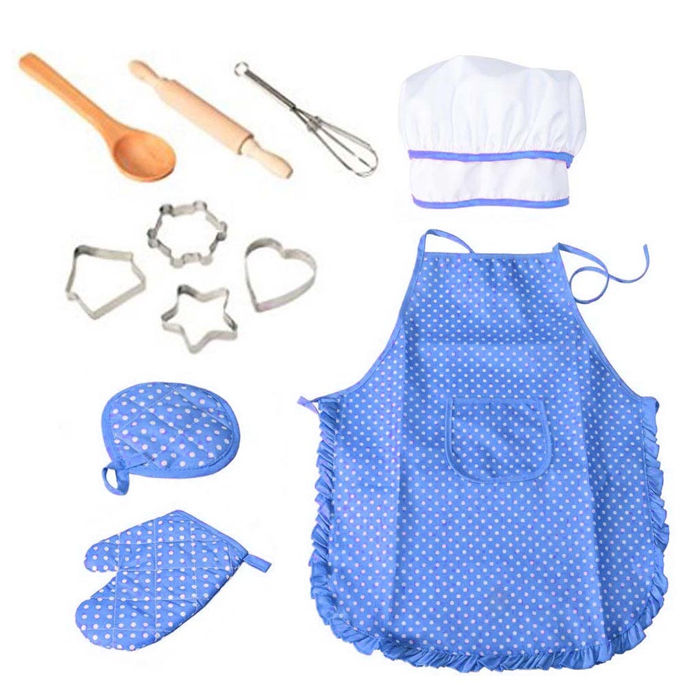 11pcs Kitchen Costume Role Play Kits Girls Waterproof Apron Hat Cute Child Cooking Cutters Diy Baking Tools Quality First Aprons Household Cleaning