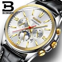 Switzerland Automatic Mechanical Watch Men Binger Multifunction Mens Watches Gold Wristwatches Waterproof relogio masculino 2018 Mechanical Watches    -