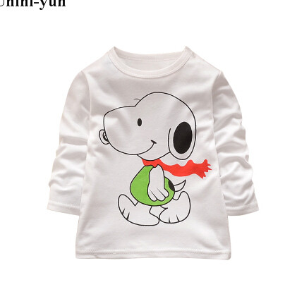 все цены на Kids Baby Boys Long Sleeve Shirt Snoppy dog Tops T Shirt Autumn Shirt Animal Print Sweatshirt Christmas Children Clothes