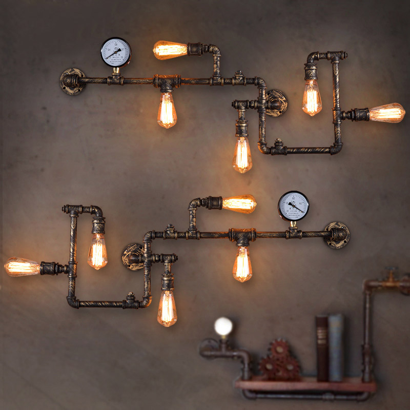 New Fashion Wroguht Iron Water Pipe Wall Lamp Vintage Aisle Lights Loft Iron Wall Lamps Edison Incandescent Coffee Light Bulb loft vintage edison glass light ceiling lamp cafe dining bar club aisle t300