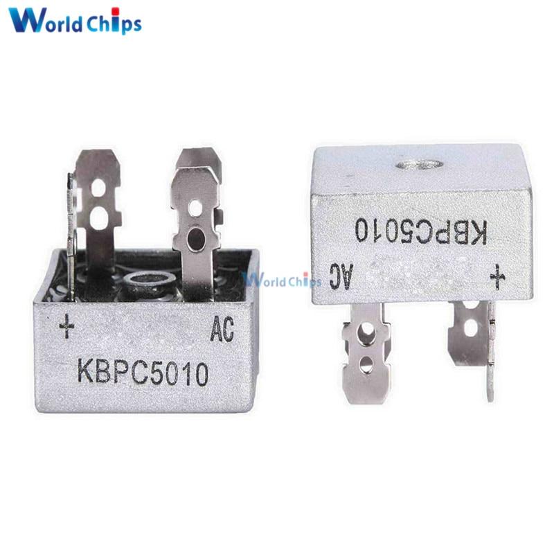 2Pcs/lot KBPC5010 Bridge Rectifier 50a 1000V AC Metal Case Single Phases Diode Bridge Rectifier