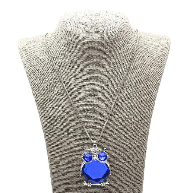 LNRRABC Women Sweater Chain Necklace Owl Design Rhinestones Crystal Pendant Necklaces Jewelry Clothing Accessories Drop Shipping 1