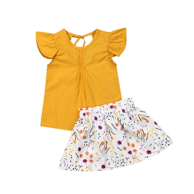 Toddler Kids Baby Girl Summer Clothes Outfits Sets T shirt Tops+Tutu Skirt Dress