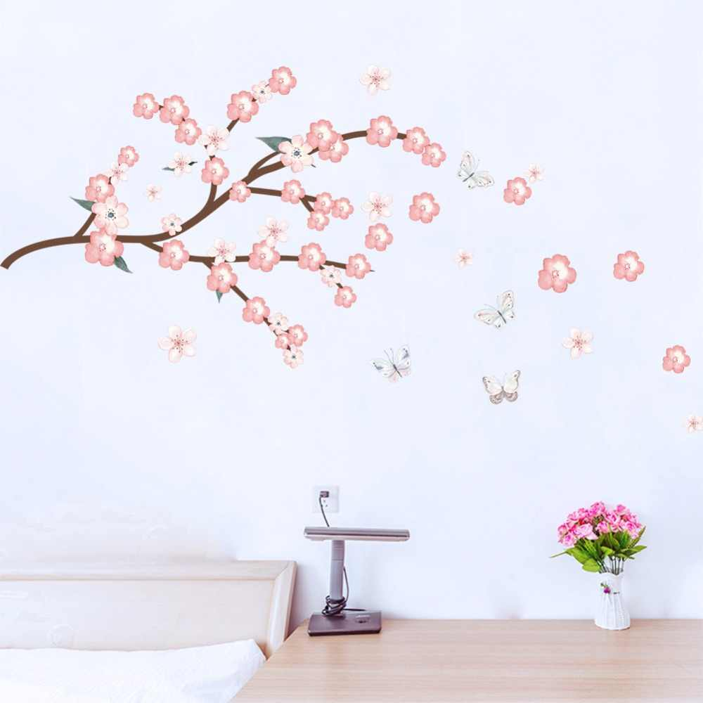 Cherry Blossoms Tree Wall Stickers Flower Butterfly Home Decor