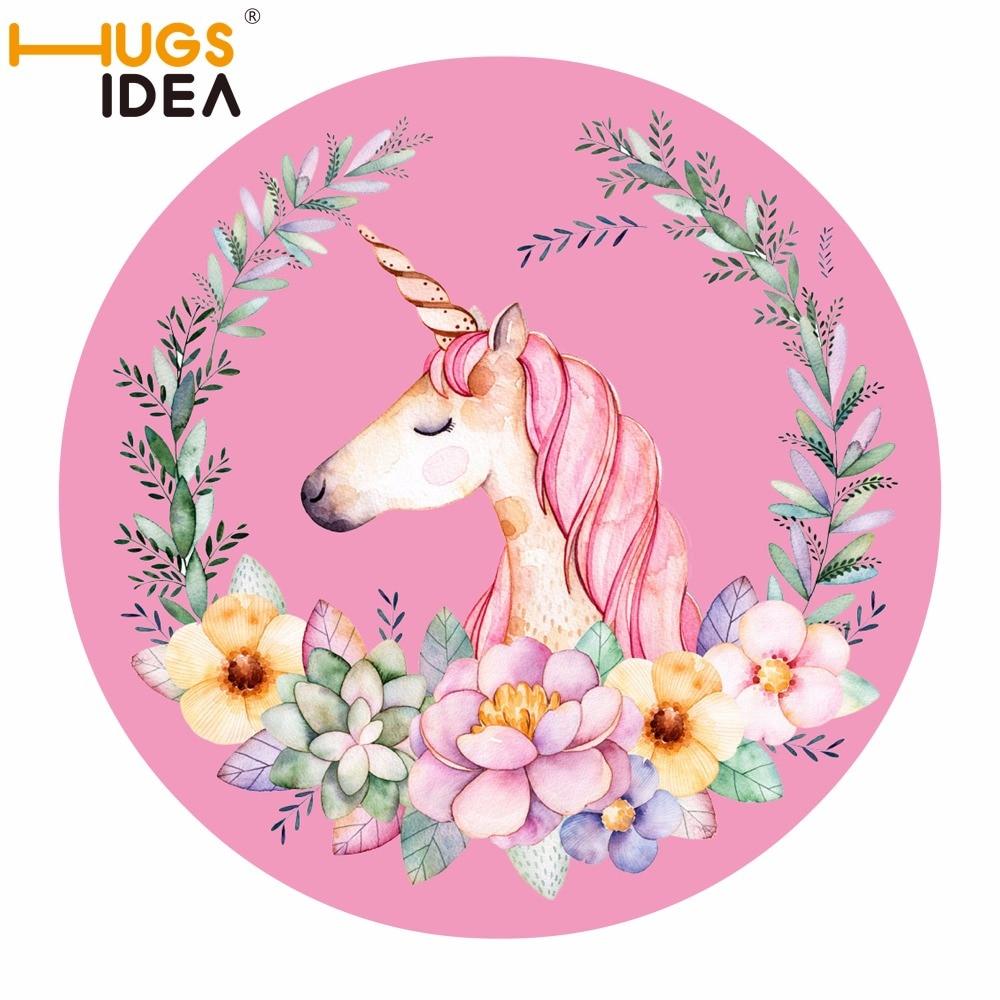 Hugsidea Cartoon Flowers Unicorn Round Rug Bath Anti Slip