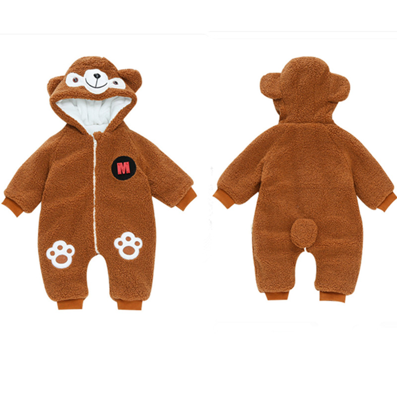 Baby Rompers Newborn Girl Zip Long Sleeve Cotton Winter Outerwear Baby Boy Clothes Thick Cute Bear New Born Infant Jumpsuit 2017 new baby rompers winter thick warm baby girl boy clothing long sleeve hooded jumpsuit kids newborn outwear for 1 3t